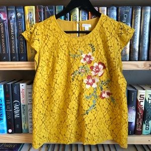 Target Xhilaration Mustard Yellow Embroidered Top